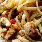 Spaghetti in swordfish and vegetable ragout