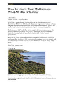 Drink the islands: These Mediterranean Wines are ideal for Summer
