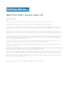 Hail Nero! Italy's hottes red value