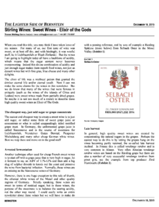 Stirling Wines: Sweet Wines - Elixir of the Gods