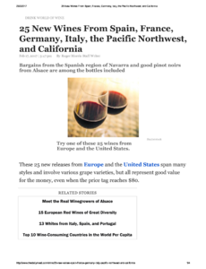 25 New Wines From Spain, France, Germany, Italy, the Pacific Northwest, and California