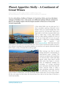 Planet Appetite: Sicily - A Continent of Great Wines
