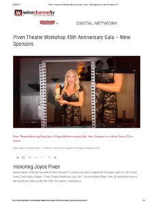 Piven Theatre Workshop 45th Anniversary Gala Featured Wines