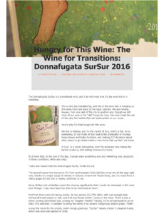 Hungry for This Wine: The Wine for Transitions: Donnafugata SurSur 2016